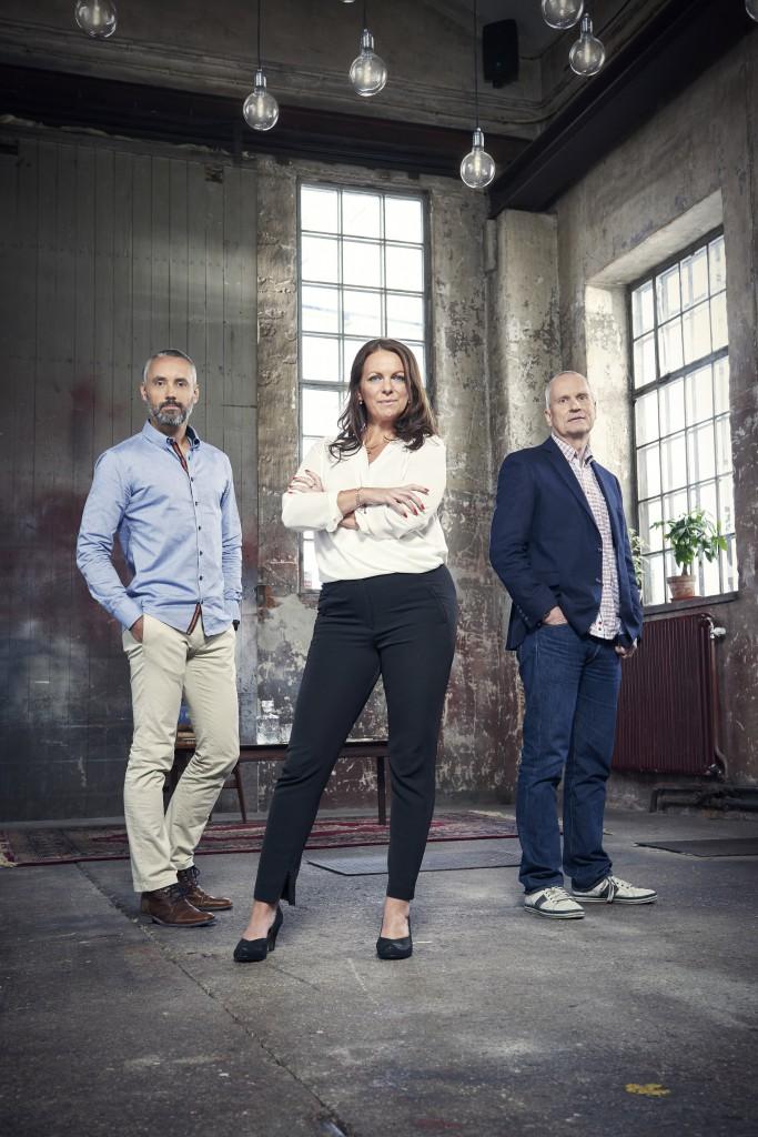 Hasse Brontén, Katarina Wennstam, Tage Åström. Foto: TV3/Johnny Wohlin