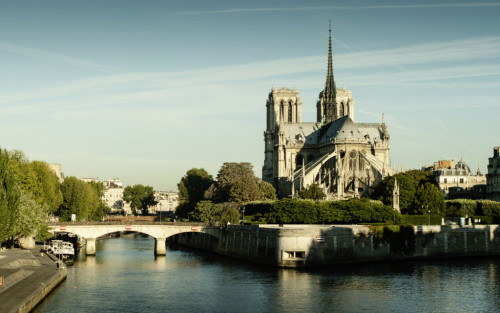 Panorama of Notre Dame cathedral in the morning